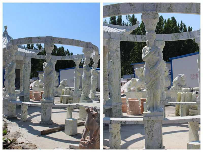 New Design Outdoor Green Marble Statuary Gazebo for Sale
