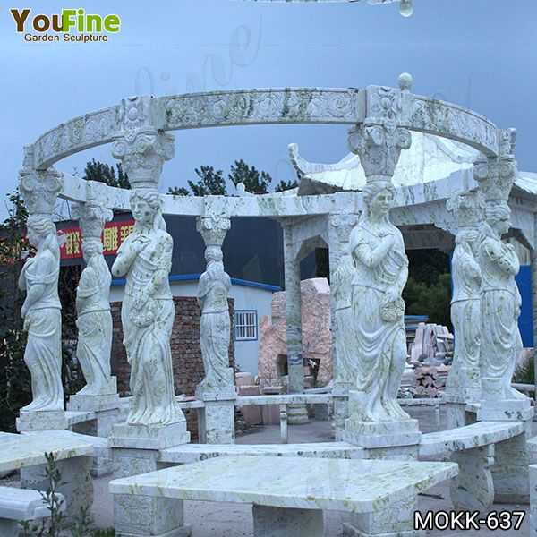New Design Outdoor Green Marble Statuary Gazebo