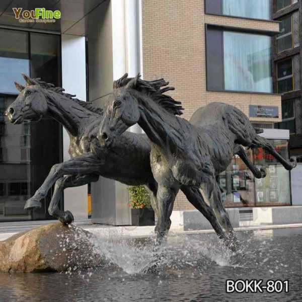 Outdoor Antique Black Bronze Running Horse Statue