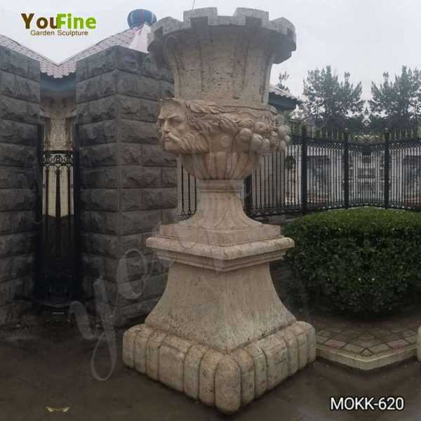 Outdoor Decorative Beige Marble Flower Pot