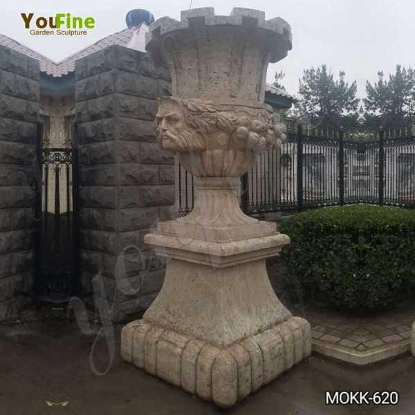 Outdoor Decorative Beige Marble Flower Pot for Sale MOKK-620