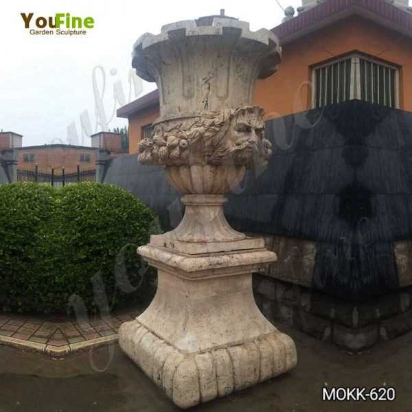 Outdoor Decorative Beige Marble Flower Pot for Sale