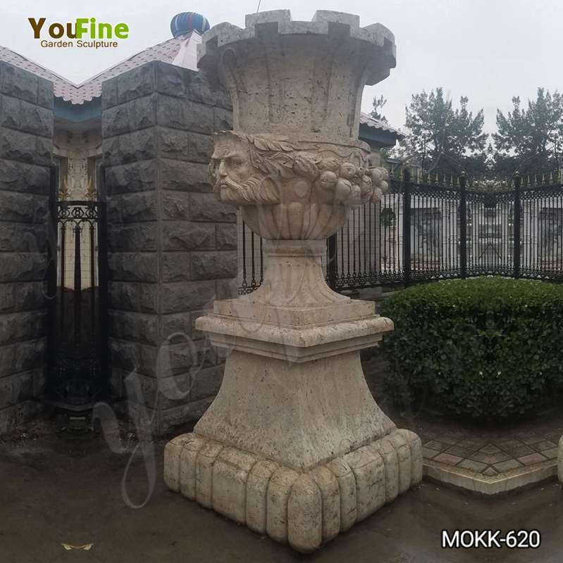 Outdoor Decorative Beige Marble Flower Pot for Sale MOKK-620