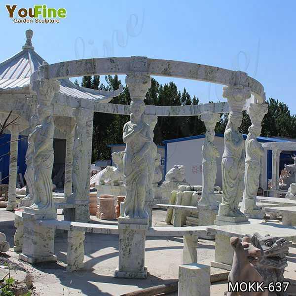 Outdoor Green Marble Statuary Gazebo for Sale
