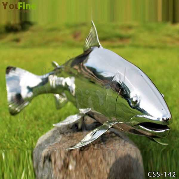 Outdoor High Polished Metal Fish Sculpture for Sale