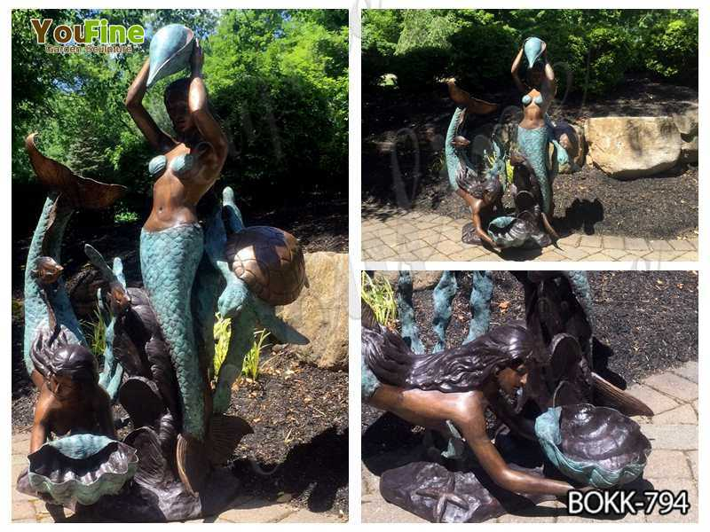 Outdoor Two Mermaids Holding Shell Bronze Fountain
