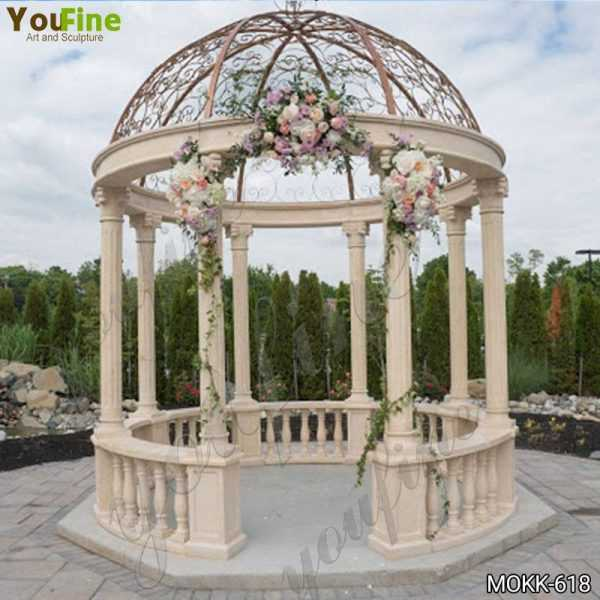 Outdoor Wedding Beige Marble Gazebo Decorations Supplier MOKK-618