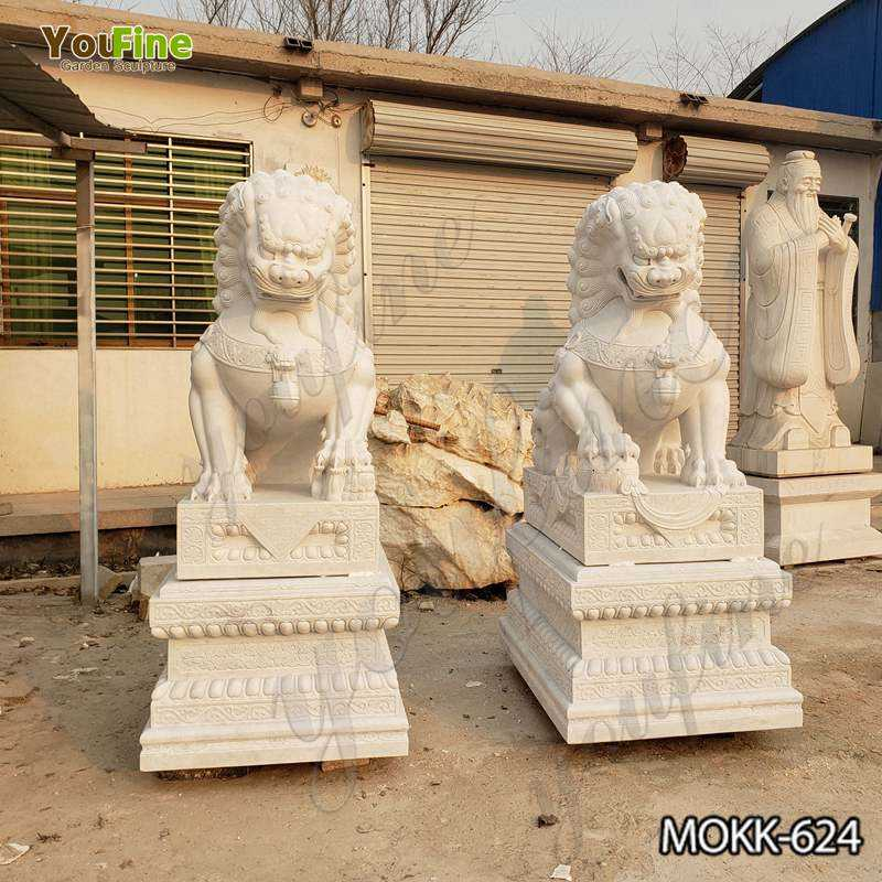 Pair of Guardian Chinese Lion Marble Statue MOKK-624