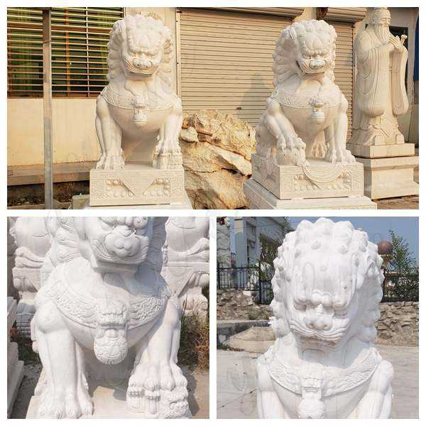 Pair of Guardian Chinese Lion Marble Statue