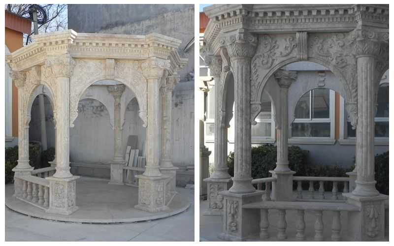 Roman Style Beige Marble Column Gazebo Supplier