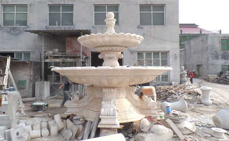 Simple Design Large Beige Marble Two Tiered Fountain