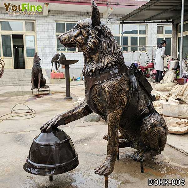Solid Bronze Military Dog Sculpture for Sale