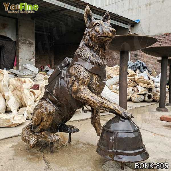 Full Size Solid Bronze Military Dog Sculpture for Sale BOKK-805