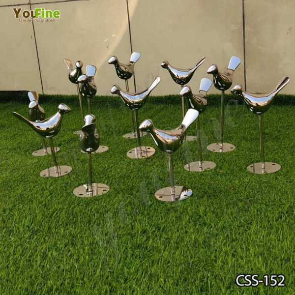 Stainless Steel Bird Sculptures for Garden Decor on sale