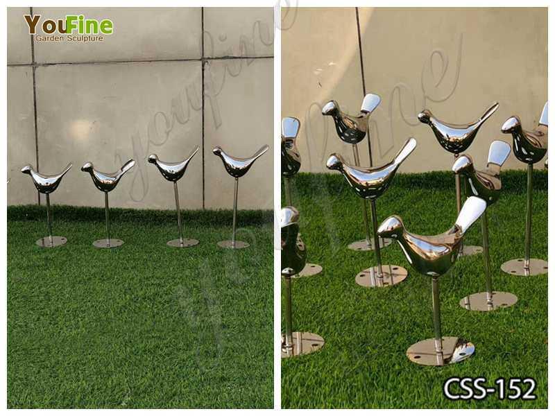 Stainless Steel Bird Sculptures for Garden