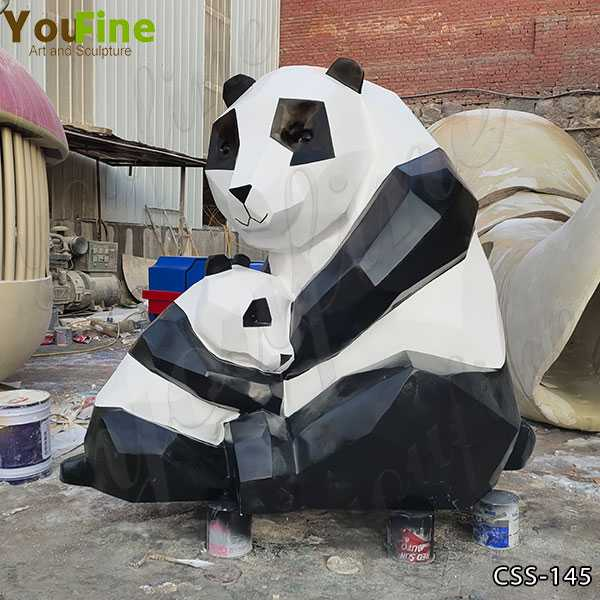 Large Abstract Stainless Steel Panda Sculpture for Sale CSS-145