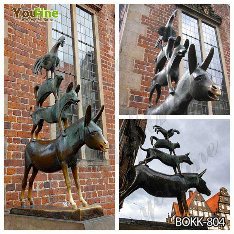 The Bremen Town Musicians bronze statue