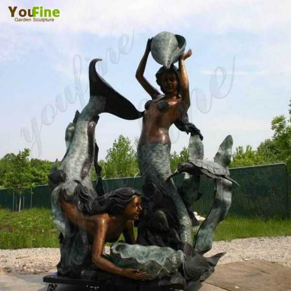 Two Bronze Mermaid Statues Fountain for Sale
