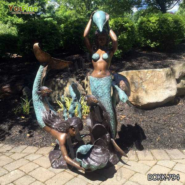 Two Mermaids Holding Shell Bronze Fountain for Sale