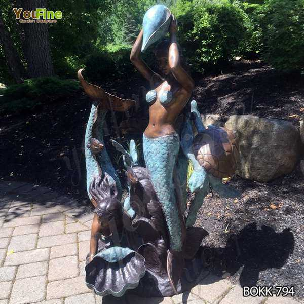 Two Mermaids Holding Shell Bronze Fountain