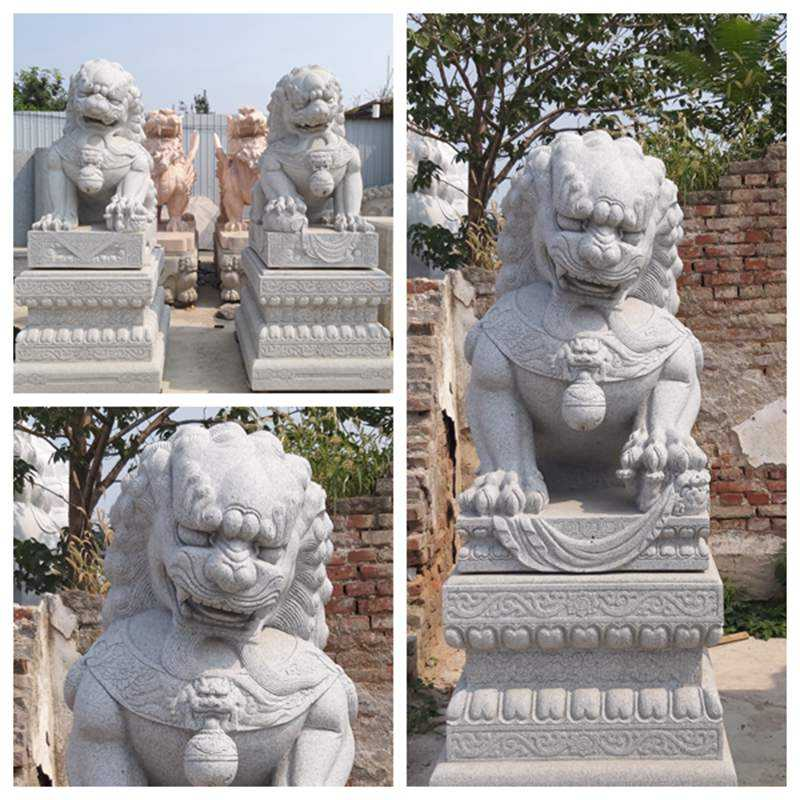detail of Outdoor Stone Foo Dog Statues Sale