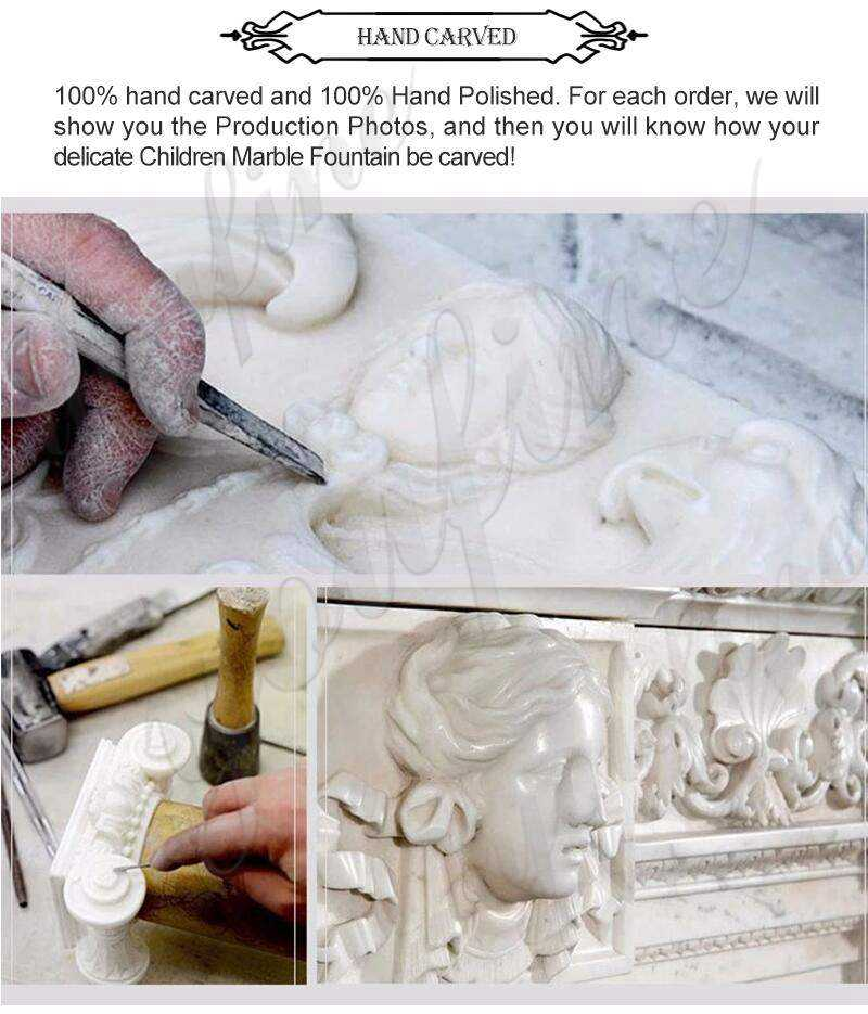 process of Beige Marble Tiered Water Fountain