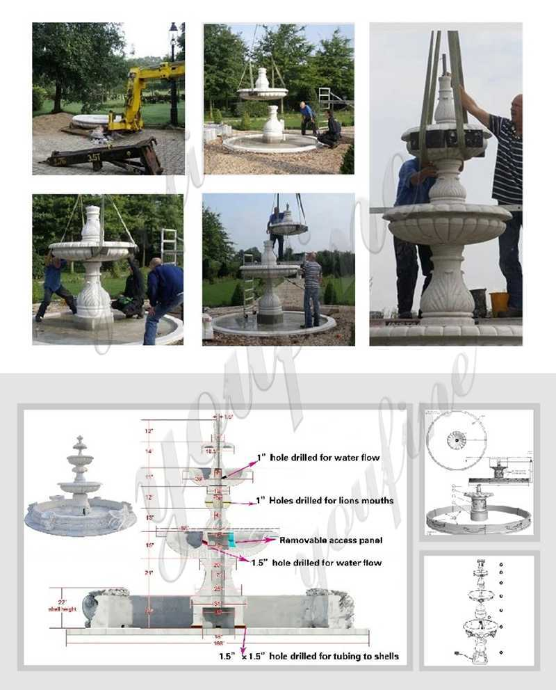 process-of Three Tiered Granite Water Fountain