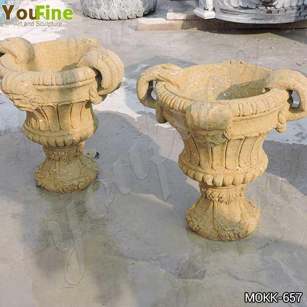 Antique Yellow Travertine Flower Pot for Garden Decor Manufacturers
