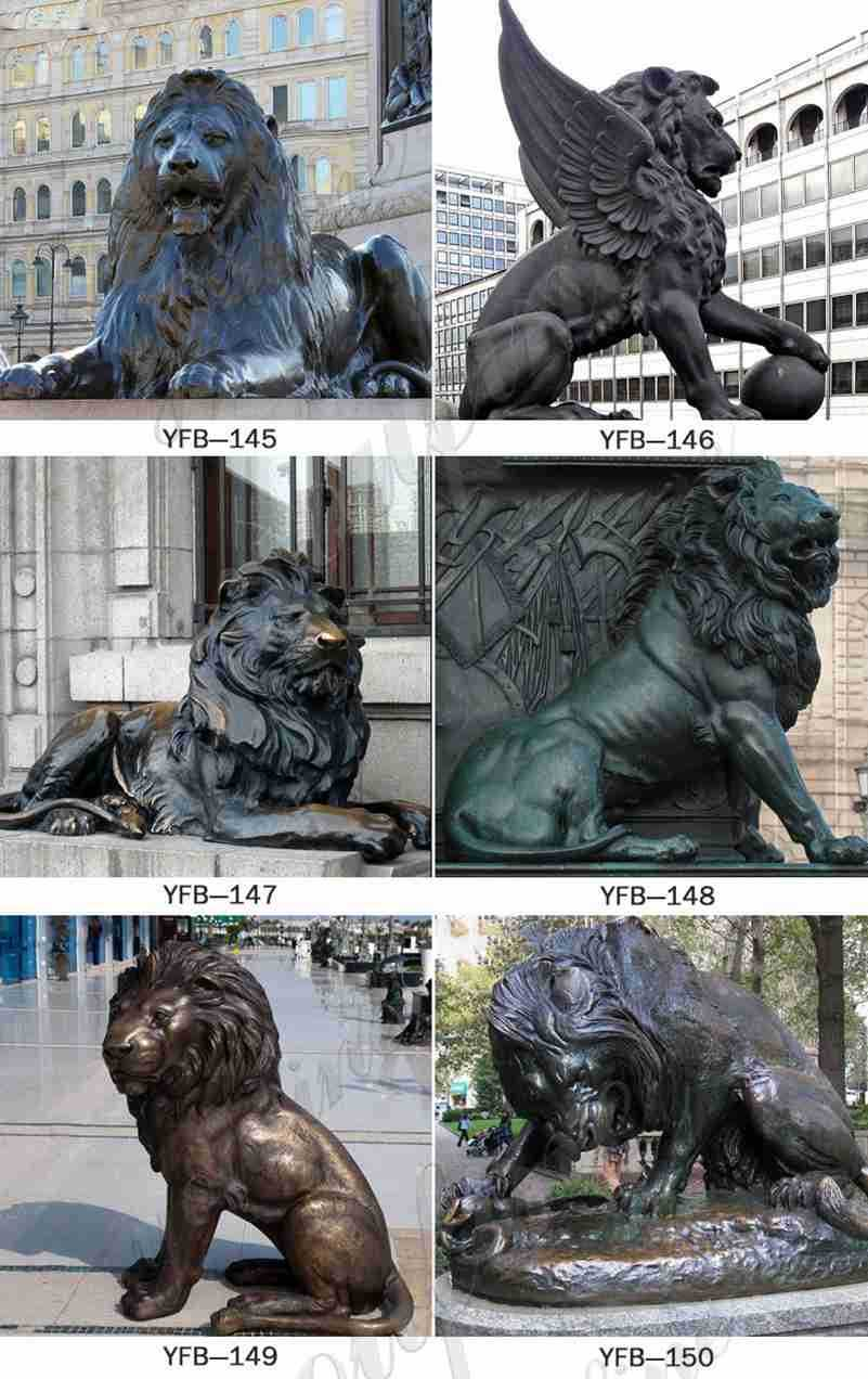 Bronze Lion Statues with Paw on Ball Supplier