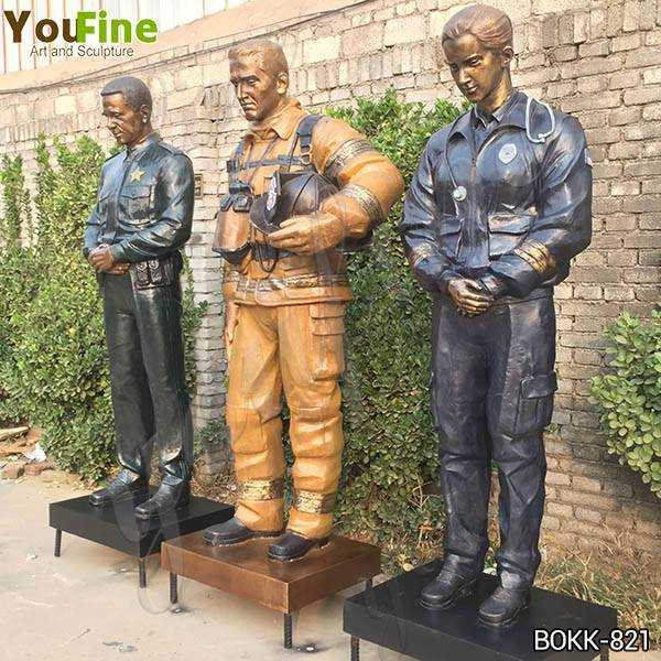 Custom Made Set of Bronze Officer Firefighter and EMS Statues for US Client