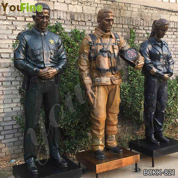 Custom Made Set of Bronze Officer Firefighter and EMS Statues