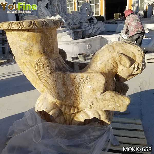 European Travertine Planter Pot with Sheep Statue Suppliers MOKK-658