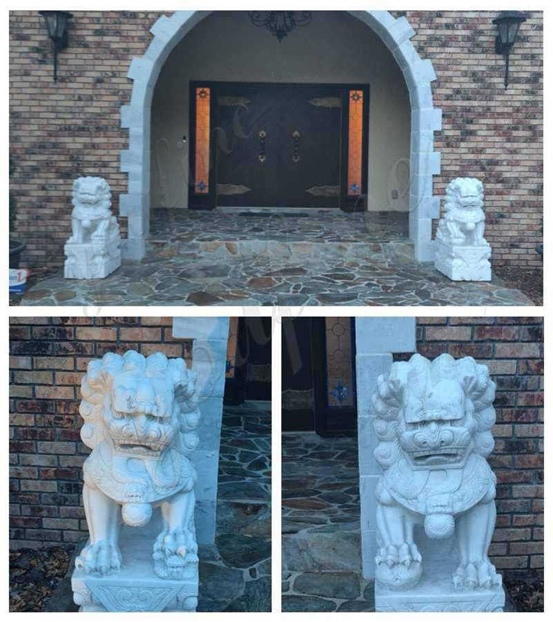 Han Carved Chinese Marble Lion Statues