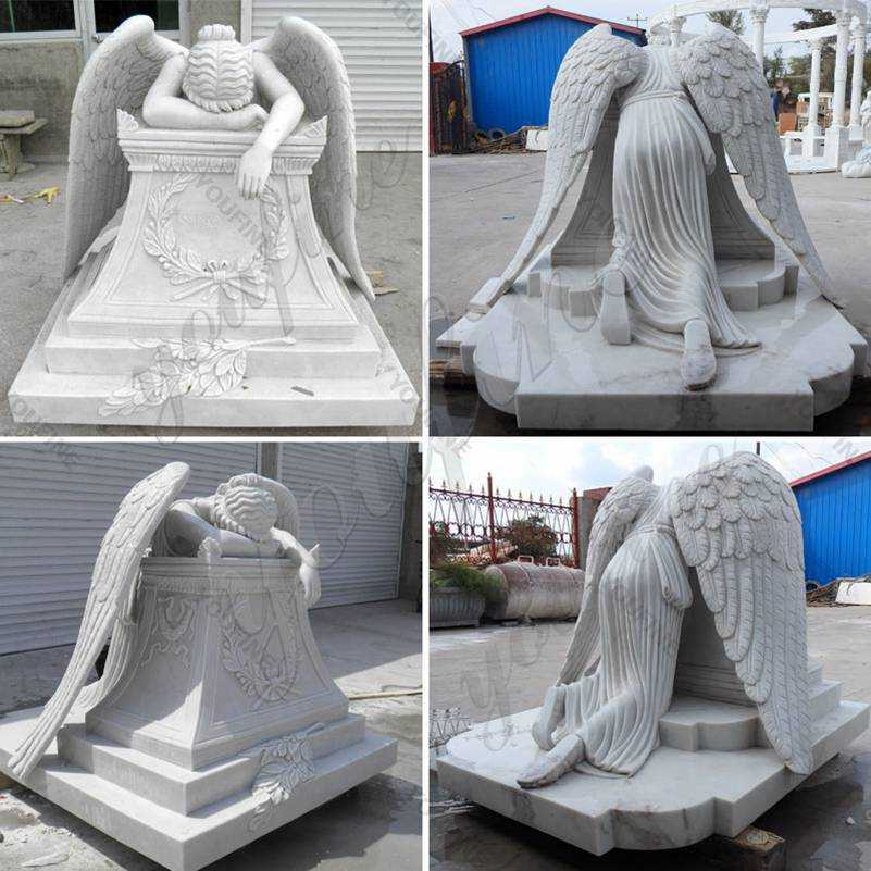 Hand Carved Marble Weeping Angel Headstone