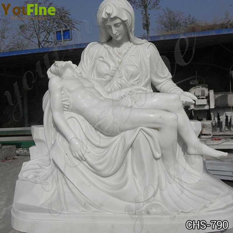 Hand Carved White Marble Pieta by Michelangelo Statue for Sale CHS-790