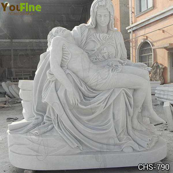 Hand Carved White Marble Pieta by Michelangelo Statue