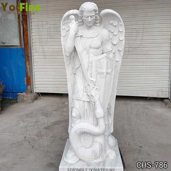 Hand Made Guardian St. Michael Angel Marble Statue for Sale