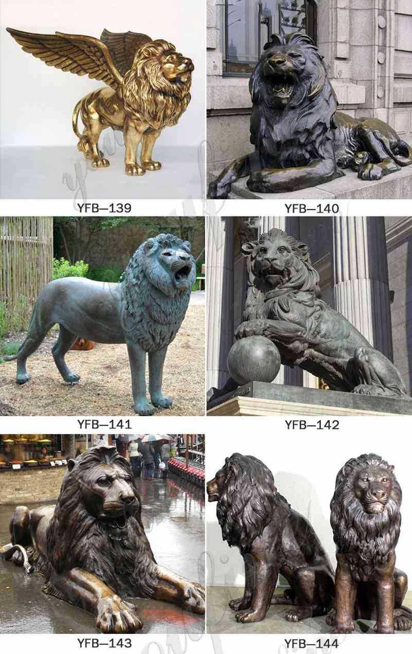 Large Metal Bronze Guardian Lion Statue for Sale