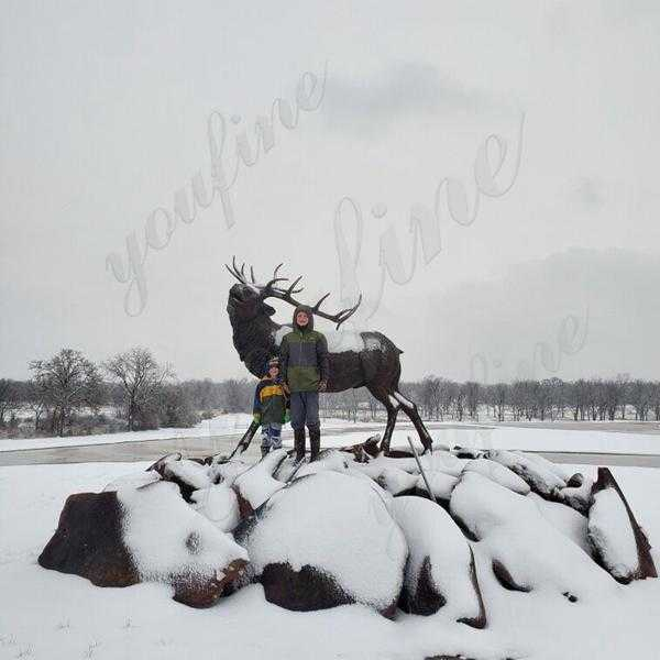 Good Feedback of Large Outdoor Bronze Elk Statue from American Client