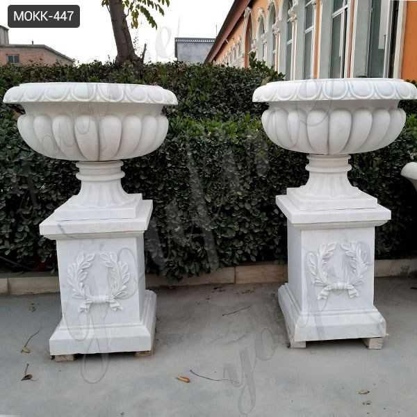 Large Outdoor Hunan White Marble Flower Pot for Sale