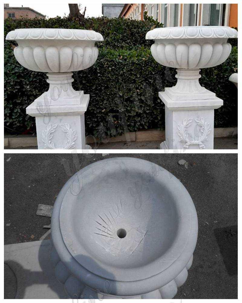 Large Outdoor Hunan White Marble Flower Pot