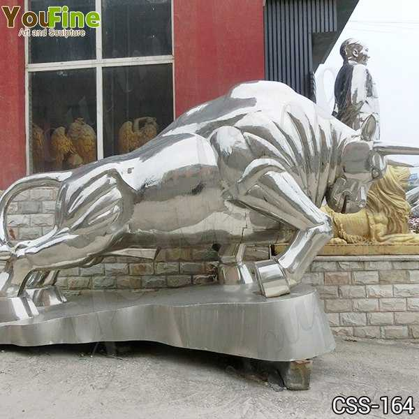 Large Outdoor Stainless Steel Bull Metal Sculpture Supplier