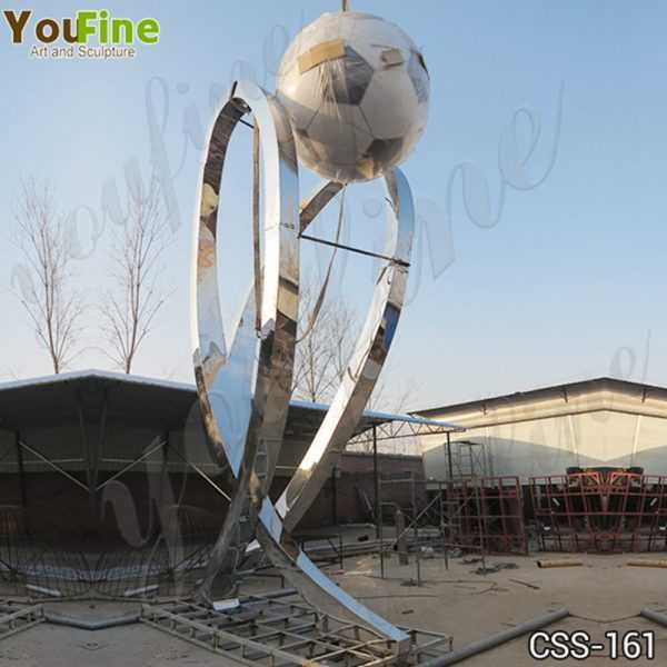 Large Stainless Steel Abstract Football Sculpture Supplier