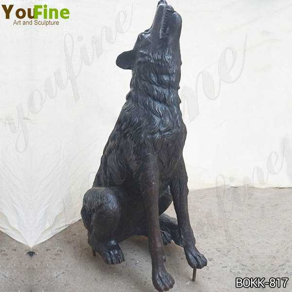 Life Size Bronze Howling Wolf Statue for Sale