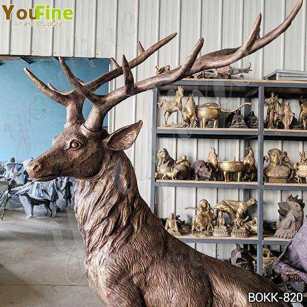 Life Size Bronze Standing Deer Sculptures
