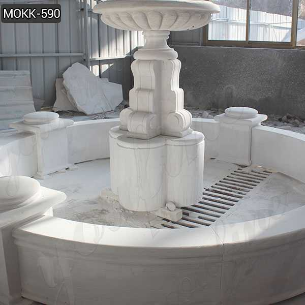 Life Size Marble Tiered Outdoor Water Fountain Simple Design Wholesale