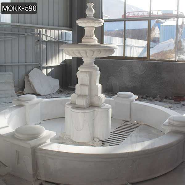Life Size Marble Tiered Outdoor Water Fountain Simple Design