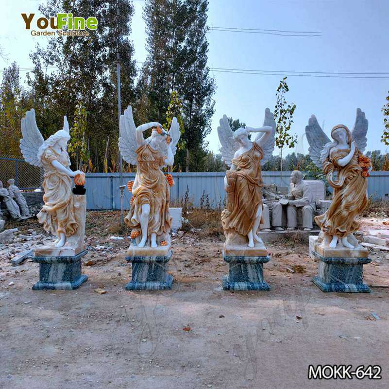 Mixed Color Marble Winged Four Seasons Statues for Outdoor Garden MOKK-642