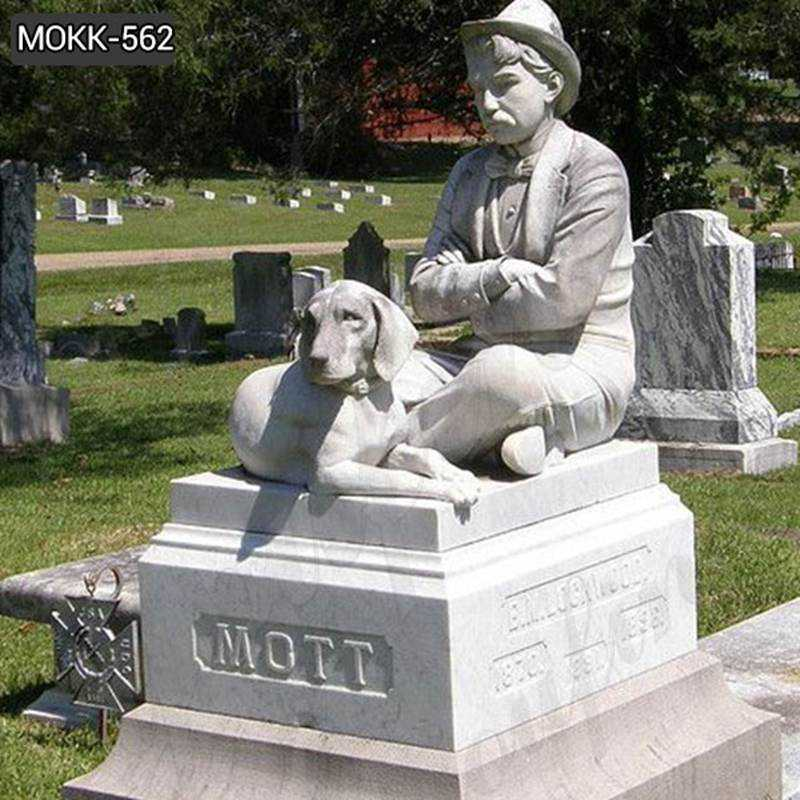 Marble Gravestone Man with Dog Memorial Headstone for Sale MOKK-562