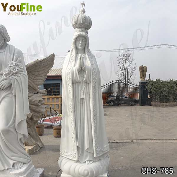 Marble Our Lady of Fatima Statue with Exquisite Crown for Sale CHS-785
